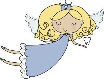 floating cartoon fairy with closed eyes holding a tooth