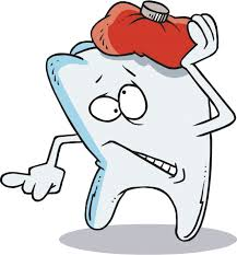 cartoon tooth with a hot water bottle on top indicating pain