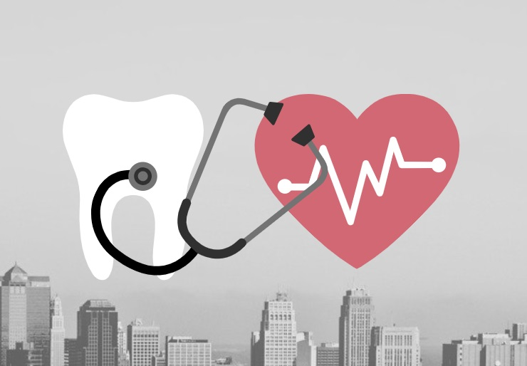 heart listening to a stethoscope on a tooth over a city skyline background
