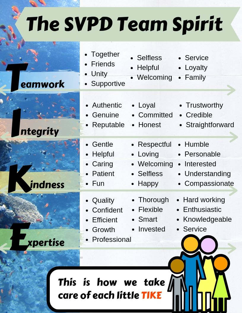 List of Core Values: Teamwork, integrity, Kindness, Expertise with synonyms and explanations for each word.